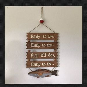 Early To Bed, Early To Rise Sign fishing theme art